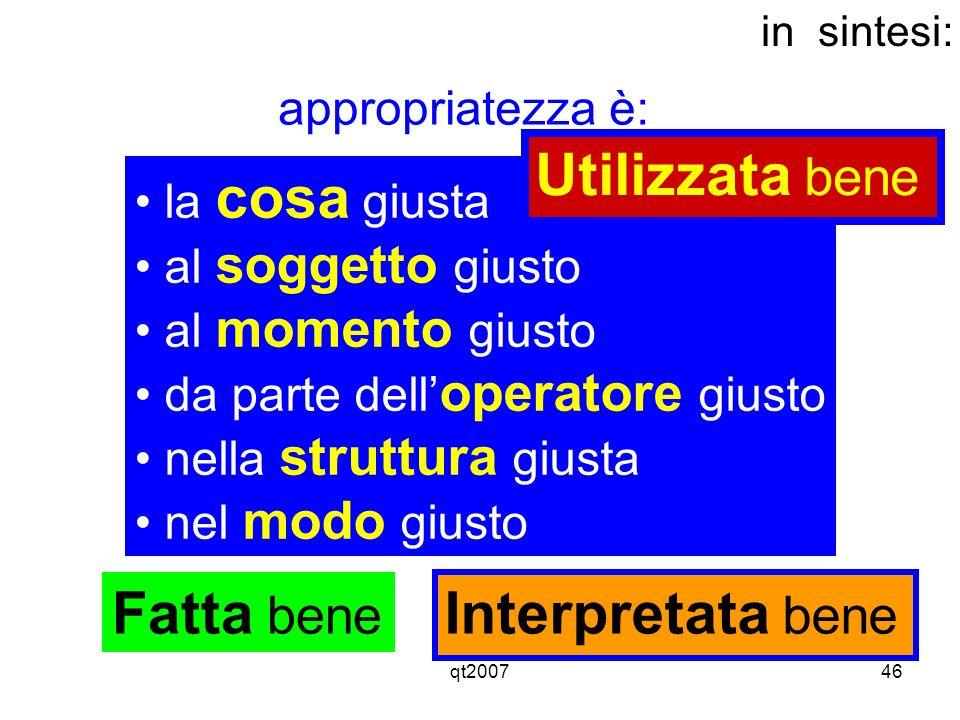 qt200746 la cosa giusta al soggetto giusto al momento giusto da parte dell operatore giusto nella struttura giusta nel modo giusto in sintesi: appropr