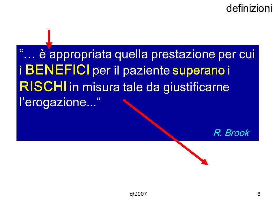 qt20076 definizioni BENEFICI RISCHI … è appropriata quella prestazione per cui i BENEFICI per il paziente superano i RISCHI in misura tale da giustifi