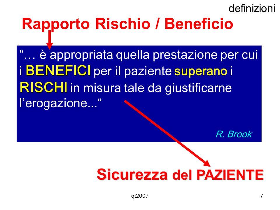 qt20077 definizioni BENEFICI RISCHI … è appropriata quella prestazione per cui i BENEFICI per il paziente superano i RISCHI in misura tale da giustifi
