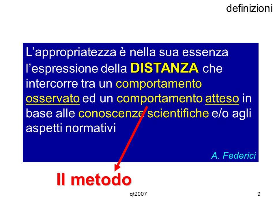 qt20079 definizioni DISTANZA Lappropriatezza è nella sua essenza lespressione della DISTANZA che intercorre tra un comportamento osservato ed un compo
