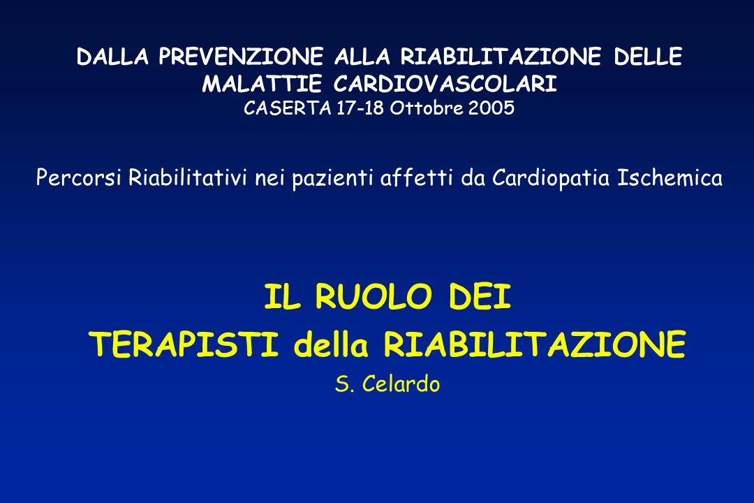 DALLA PREVENZIONE ALLA RIABILITAZIONE DELLE MALATTIE CARDIOVASCOLARI CASERTA 17-18 Ottobre 2005 Percorsi Riabilitativi nei pazienti affetti da Cardiop