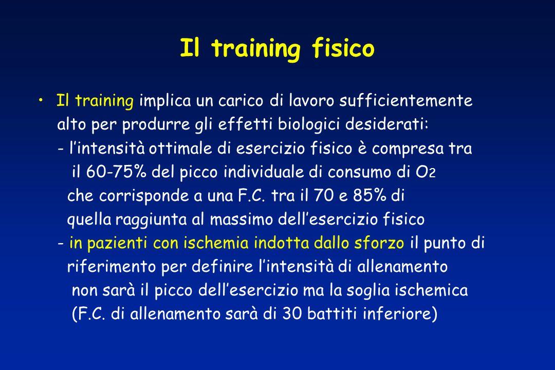 Il training fisico Il training implica un carico di lavoro sufficientemente alto per produrre gli effetti biologici desiderati: - lintensità ottimale