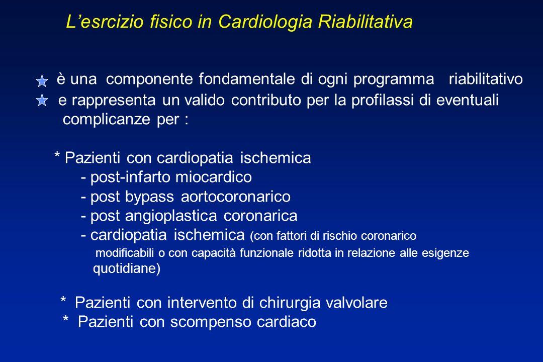 L Lesrcizio fisico in Cardiologia Riabilitativa è una componente fondamentale di ogni programma riabilitativo e rappresenta un valido contributo per l