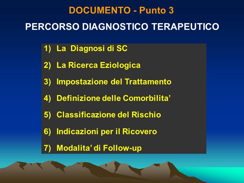 DOCUMENTO - Punto 3 PERCORSO DIAGNOSTICO TERAPEUTICO 1)La Diagnosi di SC 2)La Ricerca Eziologica 3)Impostazione del Trattamento 4)Definizione delle Co