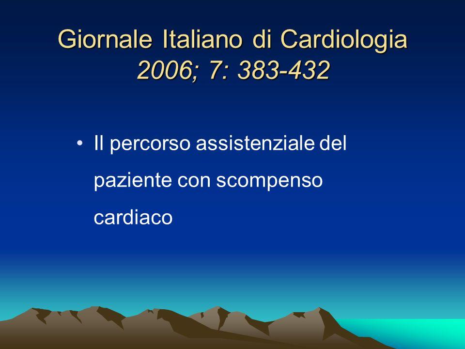 Giornale Italiano di Cardiologia 2006; 7: 383-432 Il percorso assistenziale del paziente con scompenso cardiaco