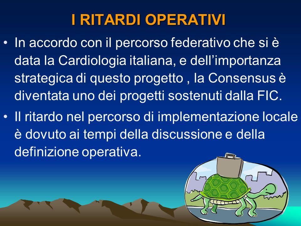 I RITARDI OPERATIVI In accordo con il percorso federativo che si è data la Cardiologia italiana, e dellimportanza strategica di questo progetto, la Co