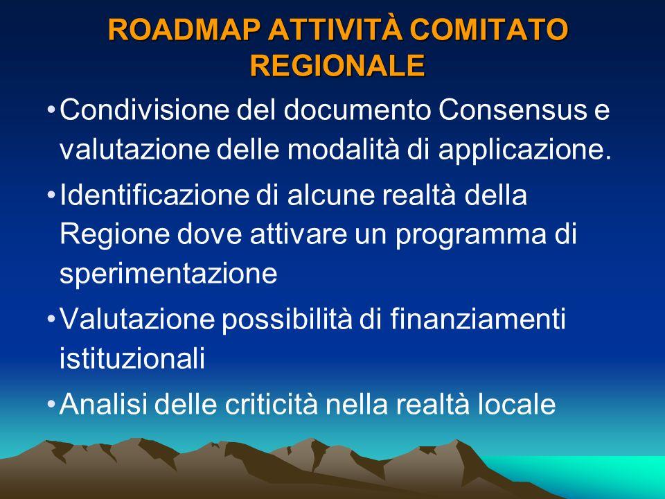 ROADMAP ATTIVITÀ COMITATO REGIONALE Condivisione del documento Consensus e valutazione delle modalità di applicazione. Identificazione di alcune realt