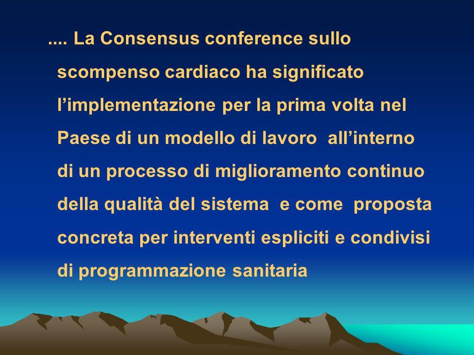 .... La Consensus conference sullo scompenso cardiaco ha significato limplementazione per la prima volta nel Paese di un modello di lavoro allinterno
