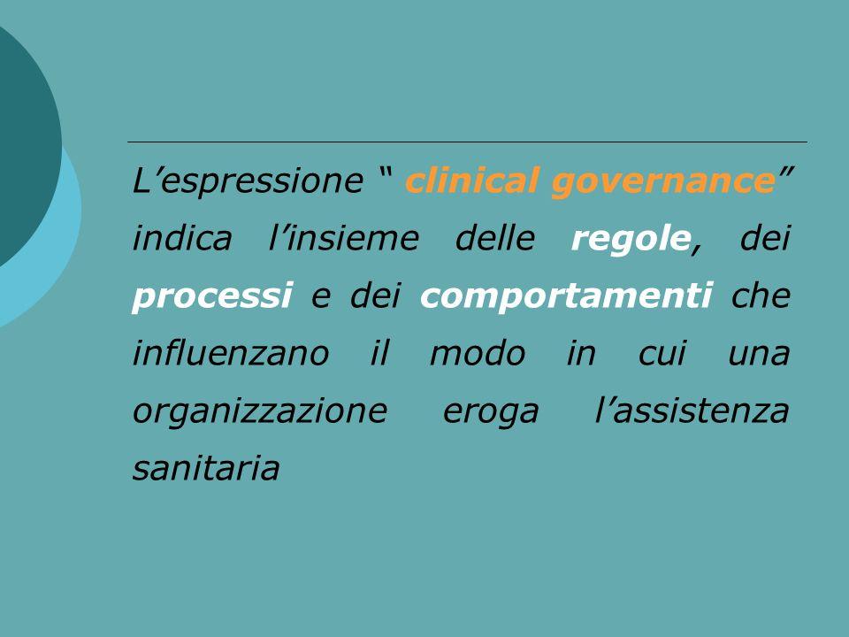 Lespressione clinical governance indica linsieme delle regole, dei processi e dei comportamenti che influenzano il modo in cui una organizzazione erog