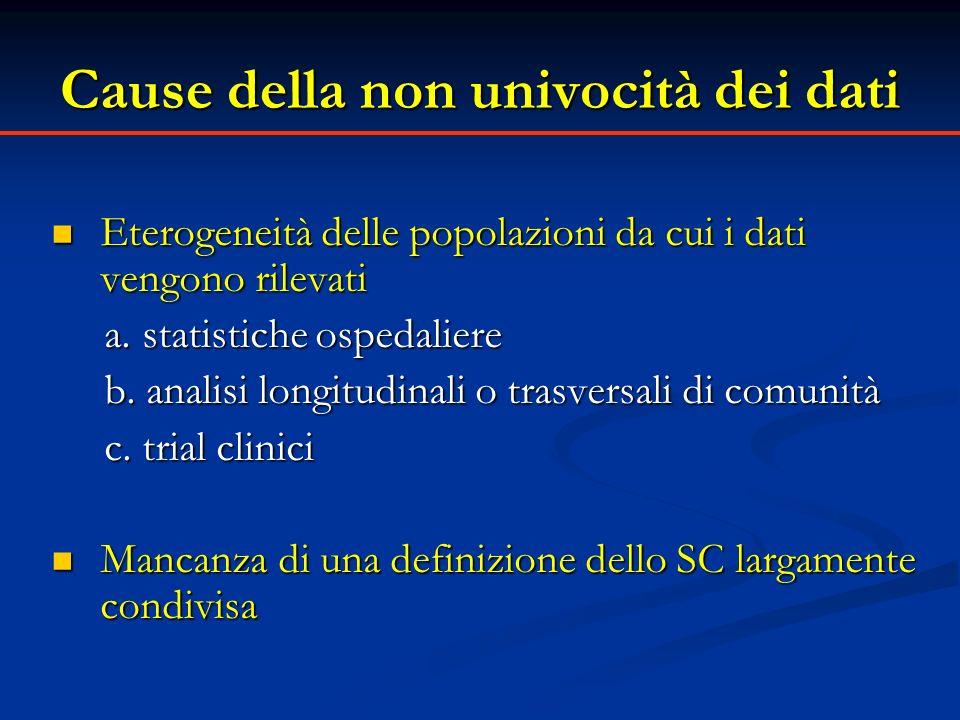 Cause della non univocità dei dati Eterogeneità delle popolazioni da cui i dati vengono rilevati Eterogeneità delle popolazioni da cui i dati vengono