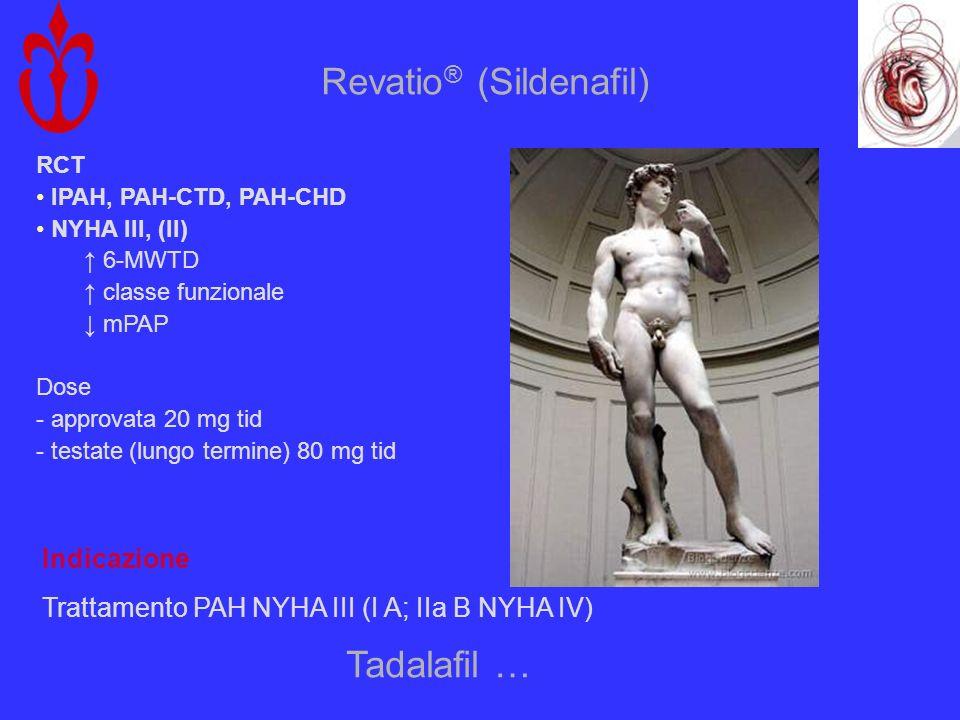Revatio ® (Sildenafil) RCT IPAH, PAH-CTD, PAH-CHD NYHA III, (II) 6-MWTD classe funzionale mPAP Dose - approvata 20 mg tid - testate (lungo termine) 80