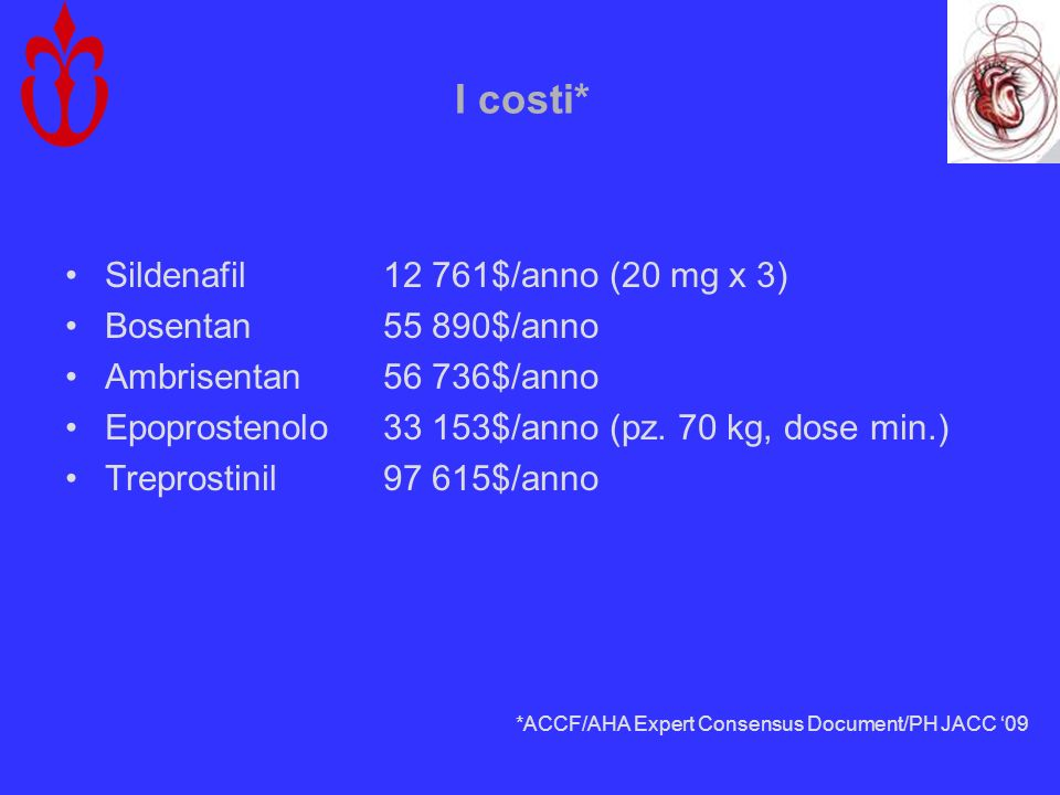 I costi* Sildenafil12 761$/anno (20 mg x 3) Bosentan55 890$/anno Ambrisentan56 736$/anno Epoprostenolo33 153$/anno (pz. 70 kg, dose min.) Treprostinil