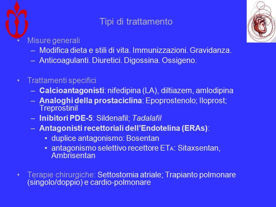 Tipi di trattamento Misure generali –Modifica dieta e stili di vita. Immunizzazioni. Gravidanza. –Anticoagulanti. Diuretici. Digossina. Ossigeno. Trat