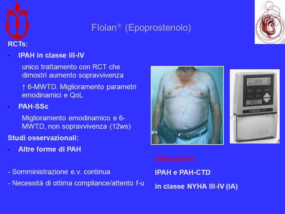 Flolan (Epoprostenolo) RCTs: IPAH in classe III-IV unico trattamento con RCT che dimostri aumento sopravvivenza 6-MWTD. Miglioramento parametri emodin