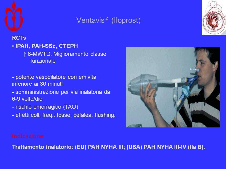Ventavis (Iloprost) RCTs IPAH, PAH-SSc, CTEPH 6-MWTD. Miglioramento classe funzionale - potente vasodilatore con emivita inferiore ai 30 minuti - somm