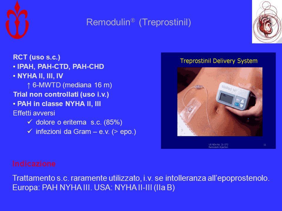 Remodulin (Treprostinil) RCT (uso s.c.) IPAH, PAH-CTD, PAH-CHD NYHA II, III, IV 6-MWTD (mediana 16 m) Trial non controllati (uso i.v.) PAH in classe N