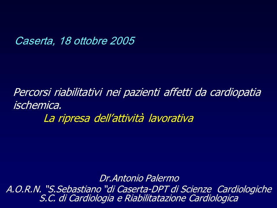 Pianeta Infarto in Italia (Heart Care Foundation -1999) 240.000 morti/anno per malattie cardiovascolari (20% per IMA con 187 morti/100.000 abitanti) 160.000 casi di Sindrome Coronarica Acuta: 1 persona ogni 4 1 su 4 non sopravvive rapporto uomo/donna : 6 a 1 recidiva a 12 m nell8% dei sopravvissuti a IMA AO CASERTA - UO di Cardiologia Riabilitativa