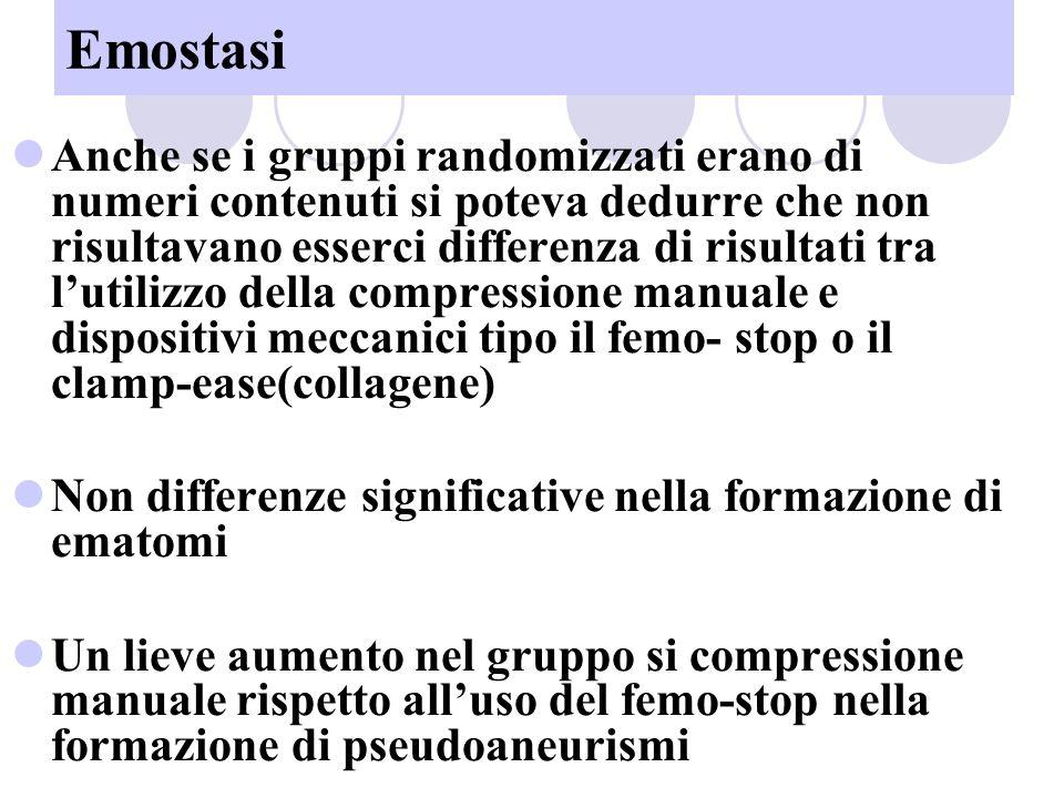 Emostasi Anche se i gruppi randomizzati erano di numeri contenuti si poteva dedurre che non risultavano esserci differenza di risultati tra lutilizzo