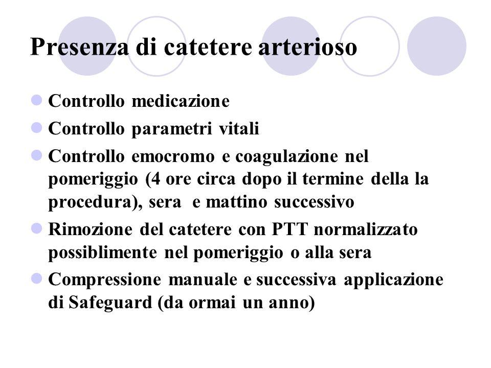 Presenza di catetere arterioso Controllo medicazione Controllo parametri vitali Controllo emocromo e coagulazione nel pomeriggio (4 ore circa dopo il