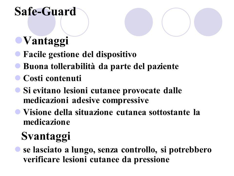 Safe-Guard Vantaggi Facile gestione del dispositivo Buona tollerabilità da parte del paziente Costi contenuti Si evitano lesioni cutanee provocate dal