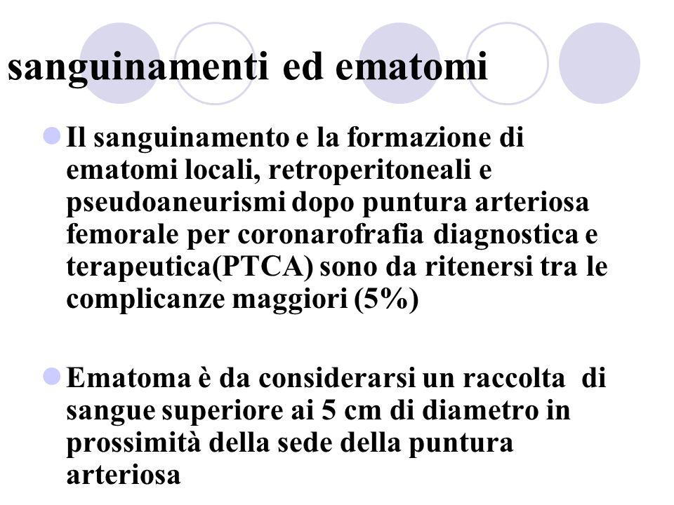 sanguinamenti ed ematomi Il sanguinamento e la formazione di ematomi locali, retroperitoneali e pseudoaneurismi dopo puntura arteriosa femorale per co