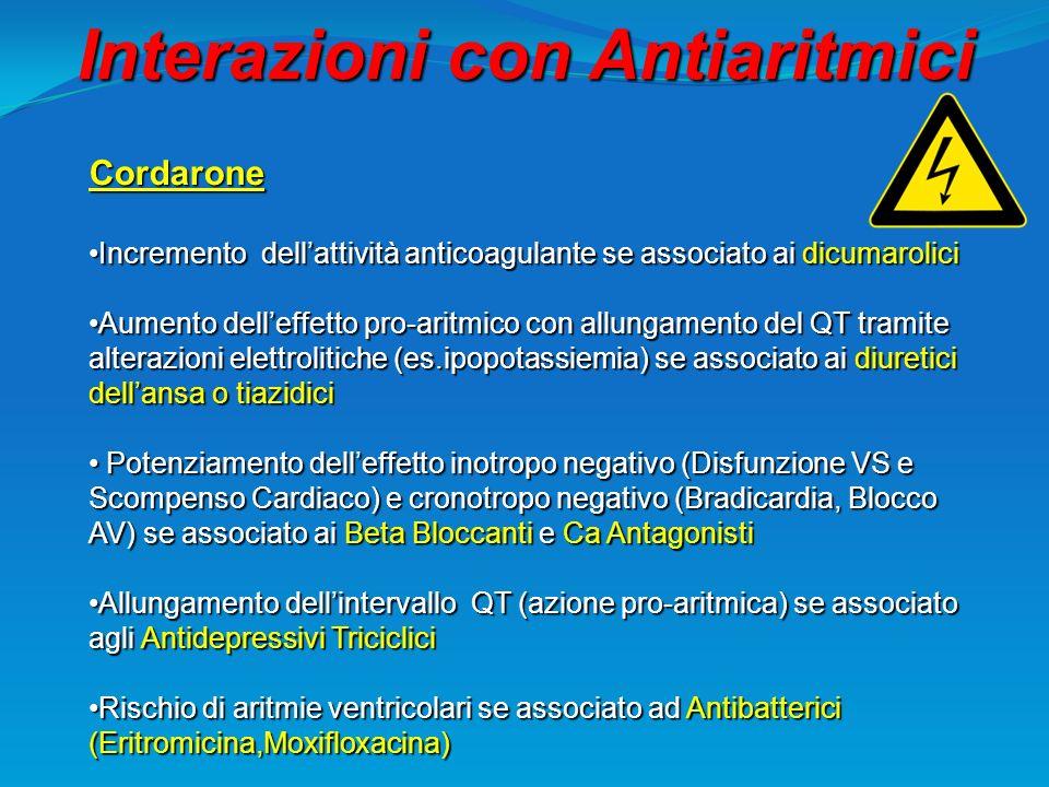 Interazioni con Antiaritmici Cordarone Incremento dellattività anticoagulante se associato ai dicumaroliciIncremento dellattività anticoagulante se as