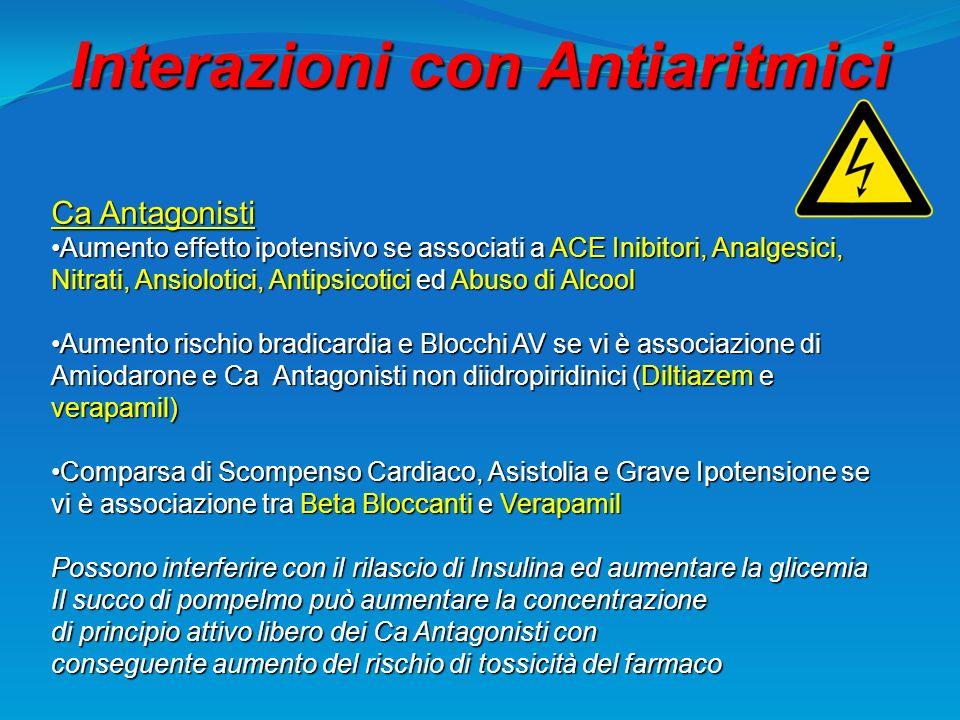 Interazioni con Antiaritmici Ca Antagonisti Aumento effetto ipotensivo se associati a ACE Inibitori, Analgesici, Nitrati, Ansiolotici, Antipsicotici e