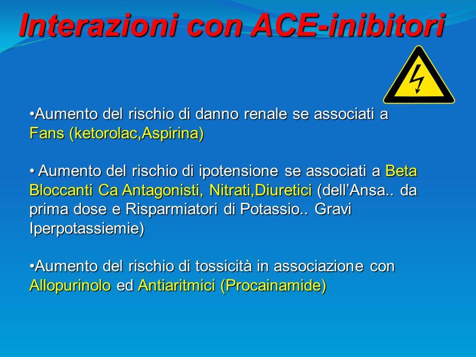 Interazioni con ACE-inibitori Aumento del rischio di danno renale se associati a Fans (ketorolac,Aspirina)Aumento del rischio di danno renale se assoc