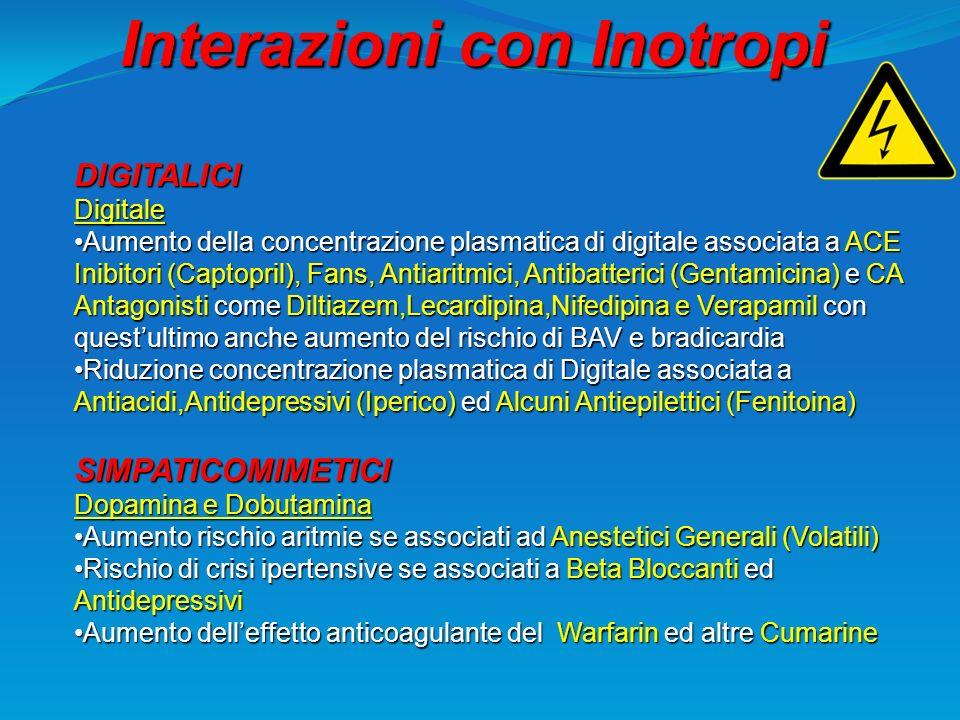 Interazioni con Inotropi DIGITALICIDigitale Aumento della concentrazione plasmatica di digitale associata a ACE Inibitori (Captopril), Fans, Antiaritm