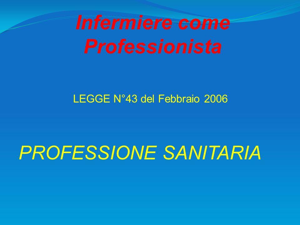 Infermiere come Professionista LEGGE N°43 del Febbraio 2006 PROFESSIONE SANITARIA