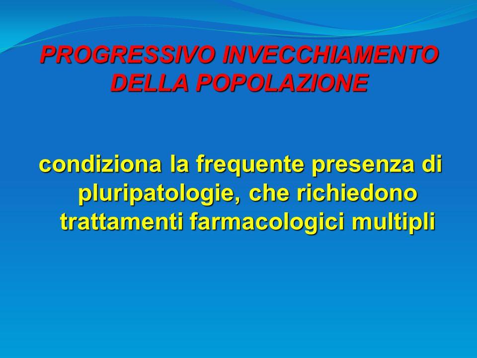 PROGRESSIVO INVECCHIAMENTO DELLA POPOLAZIONE condiziona la frequente presenza di pluripatologie, che richiedono trattamenti farmacologici multipli