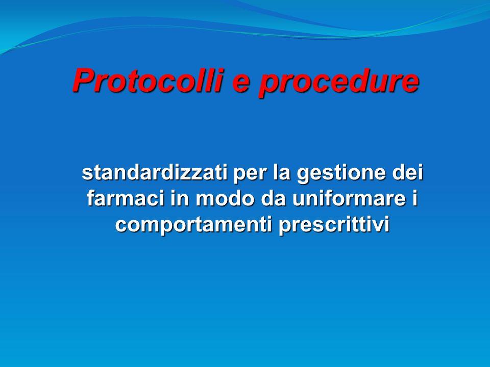 Protocolli e procedure standardizzati per la gestione dei farmaci in modo da uniformare i comportamenti prescrittivi