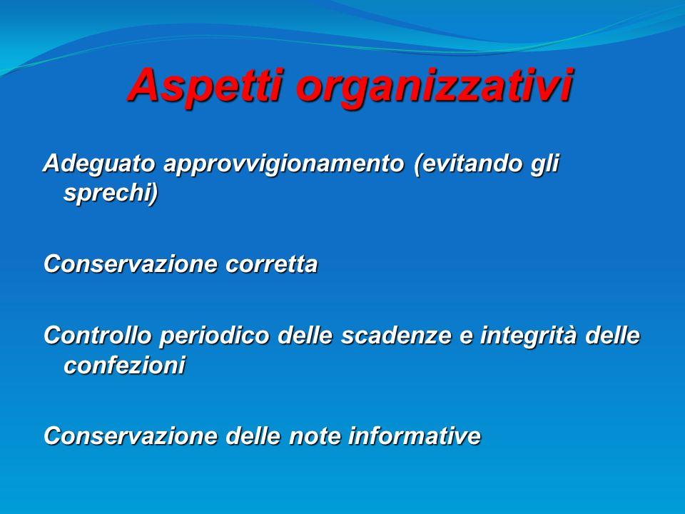Aspetti organizzativi Adeguato approvvigionamento (evitando gli sprechi) Conservazione corretta Controllo periodico delle scadenze e integrità delle c