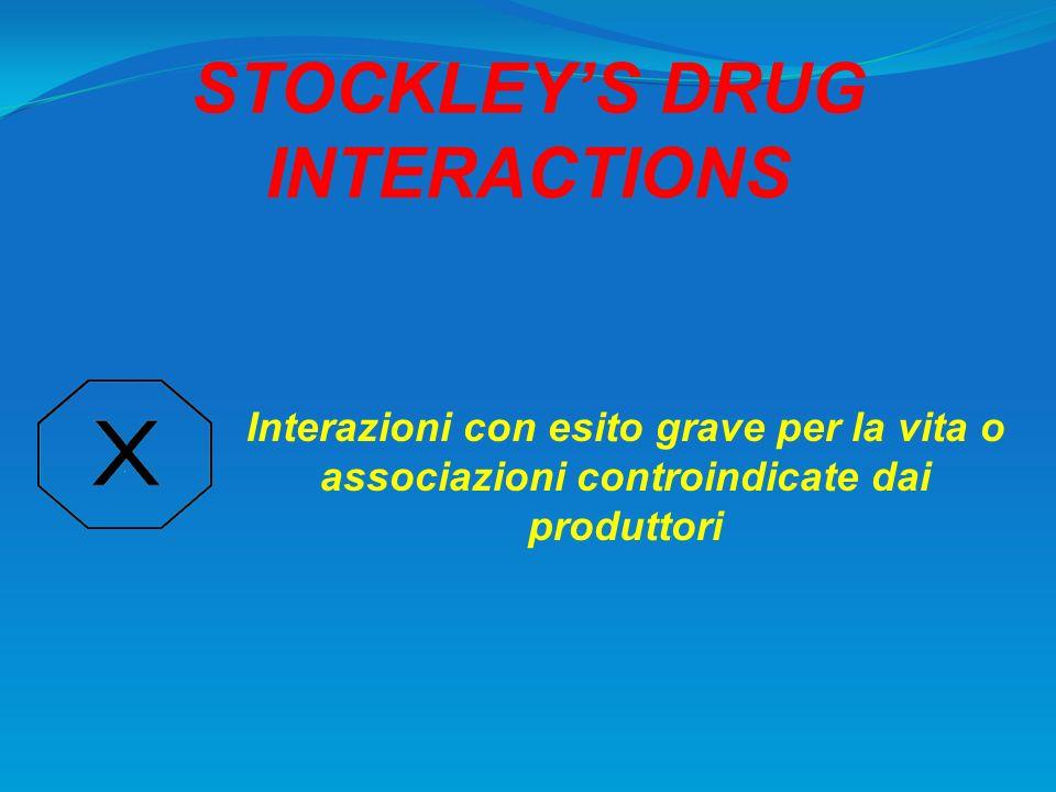 STOCKLEYS DRUG INTERACTIONS Interazioni con esito grave per la vita o associazioni controindicate dai produttori