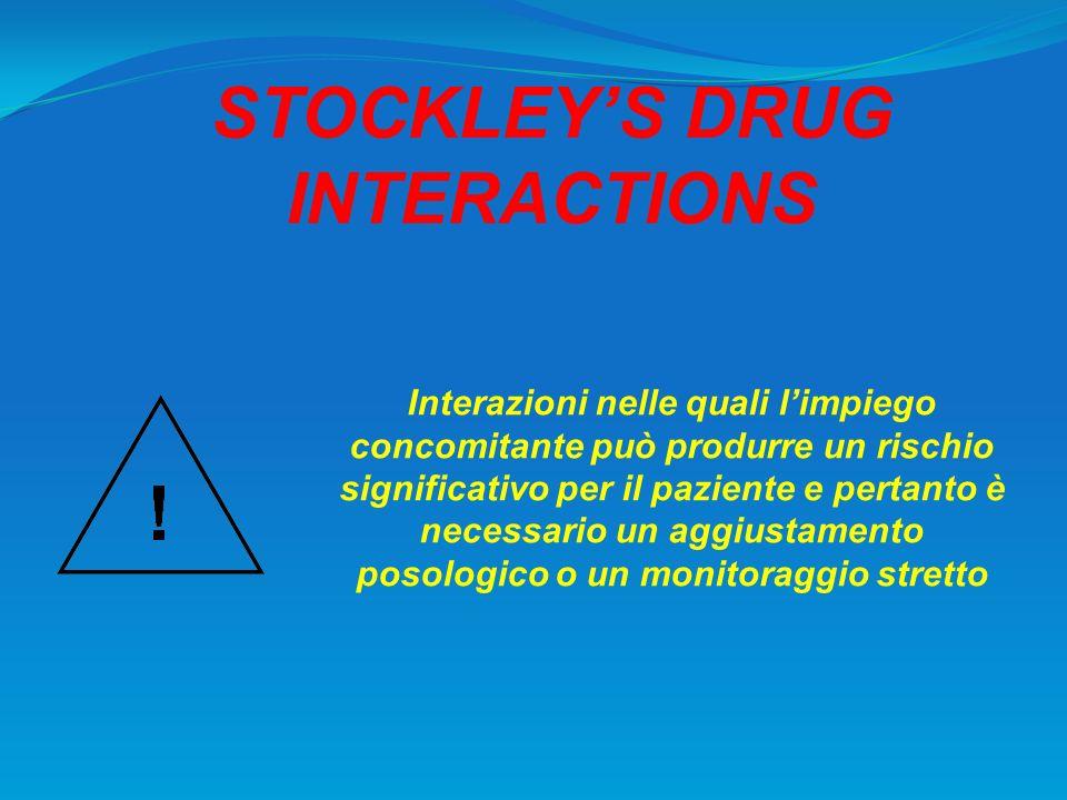 STOCKLEYS DRUG INTERACTIONS Interazioni nelle quali limpiego concomitante può produrre un rischio significativo per il paziente e pertanto è necessari
