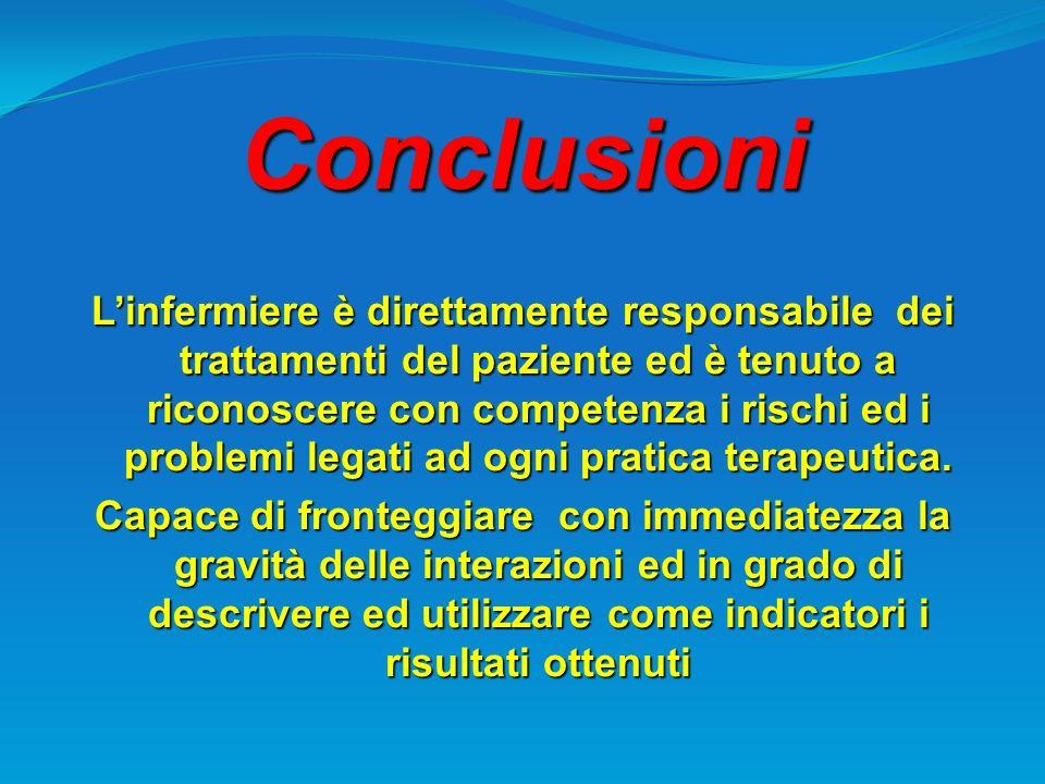 Conclusioni Linfermiere è direttamente responsabile dei trattamenti del paziente ed è tenuto a riconoscere con competenza i rischi ed i problemi legat
