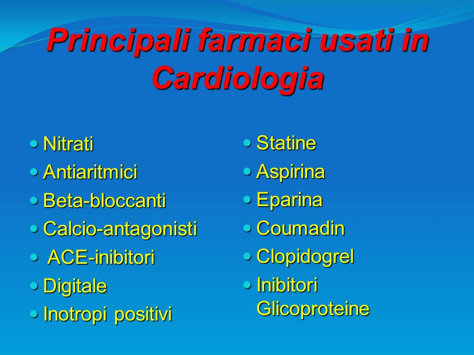 Principali farmaci usati in Cardiologia Nitrati Nitrati Antiaritmici Antiaritmici Beta-bloccanti Beta-bloccanti Calcio-antagonisti Calcio-antagonisti