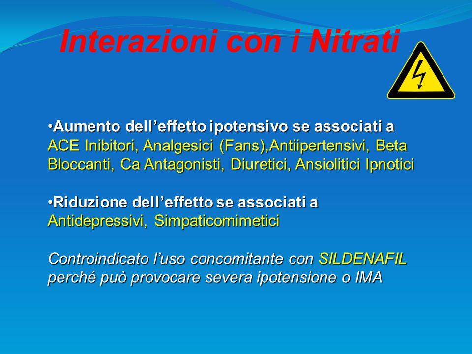 Interazioni con i Nitrati Aumento delleffetto ipotensivo se associati aAumento delleffetto ipotensivo se associati a ACE Inibitori, Analgesici (Fans),