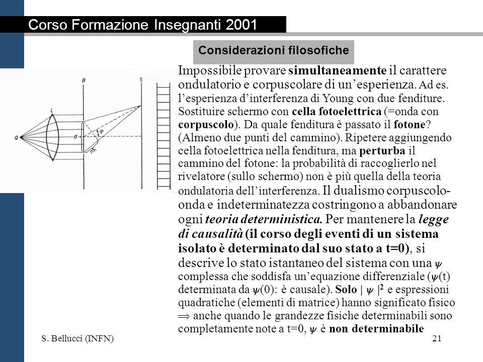 S. Bellucci (INFN)21 Impossibile provare simultaneamente il carattere ondulatorio e corpuscolare di unesperienza. Ad es. lesperienza dinterferenza di