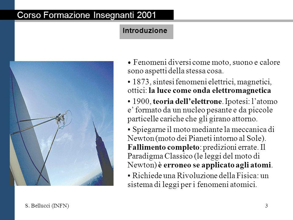 S. Bellucci (INFN)3 Fenomeni diversi come moto, suono e calore sono aspetti della stessa cosa. 1873, sintesi fenomeni elettrici, magnetici, ottici: la