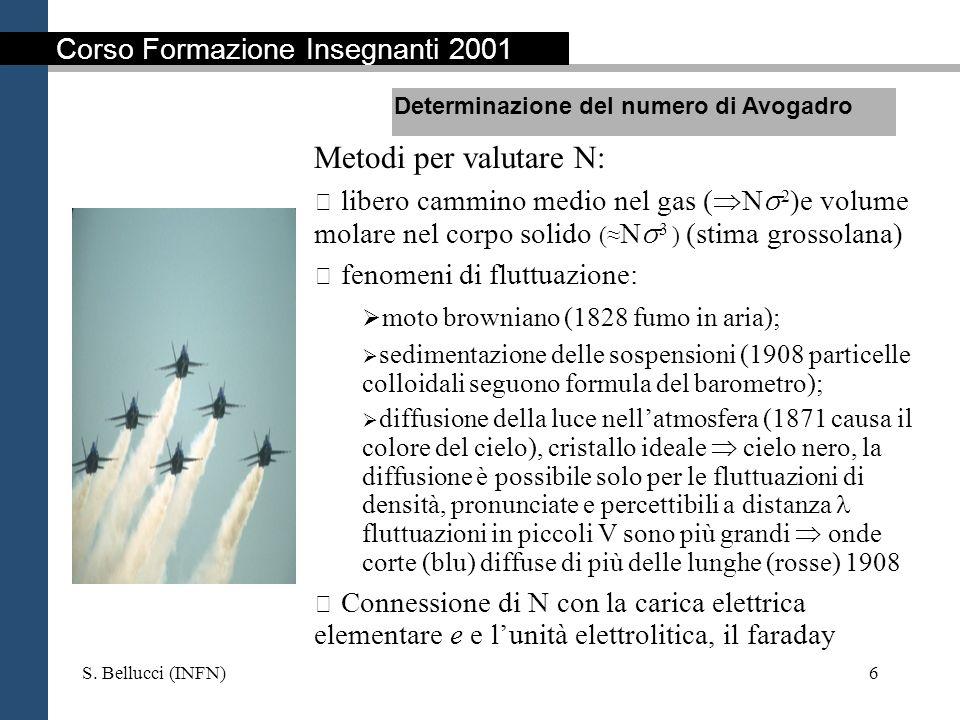 S. Bellucci (INFN)6 Metodi per valutare N: libero cammino medio nel gas ( N 2 )e volume molare nel corpo solido ( N 3 ) (stima grossolana) fenomeni di
