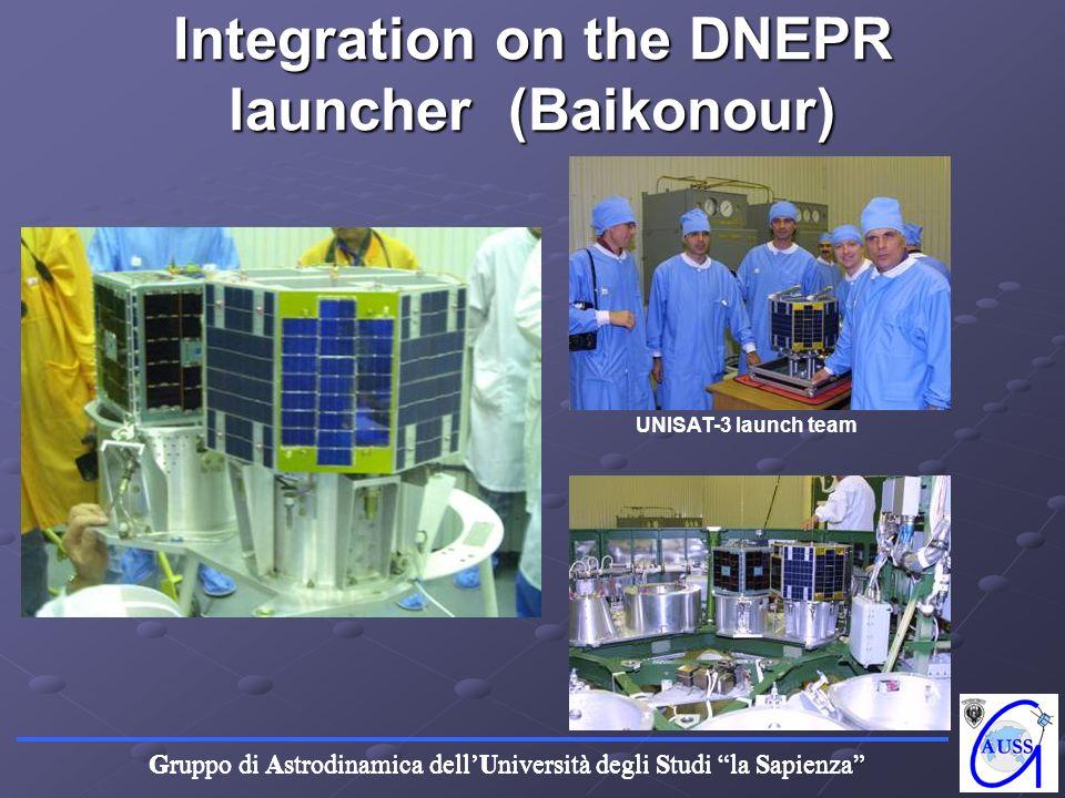 Gruppo di Astrodinamica dellUniversità degli Studi la Sapienza Integration on the DNEPR launcher (Baikonour) UNISAT-3 launch team
