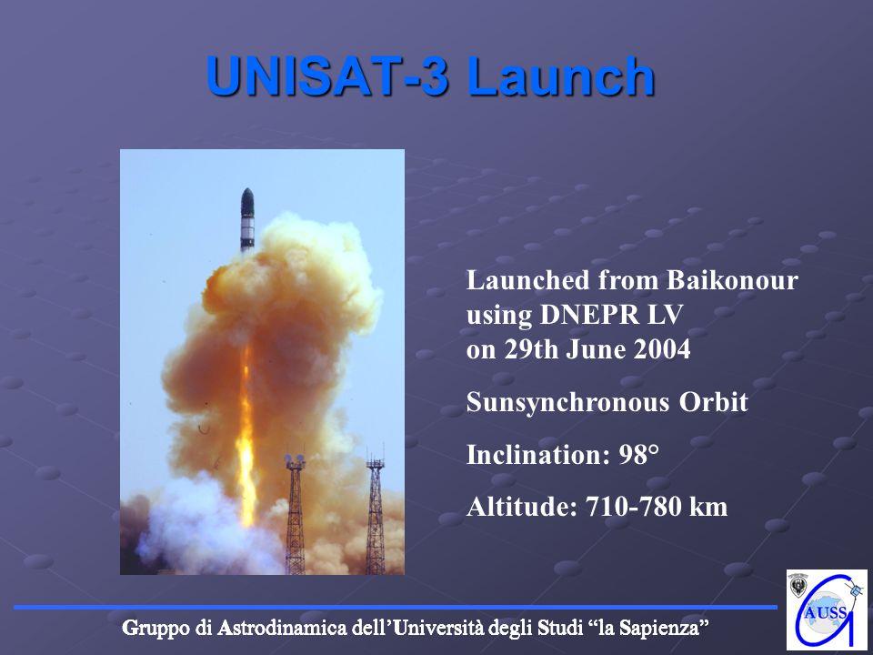Gruppo di Astrodinamica dellUniversità degli Studi la Sapienza UNISAT-3 Launch Launched from Baikonour using DNEPR LV on 29th June 2004 Sunsynchronous