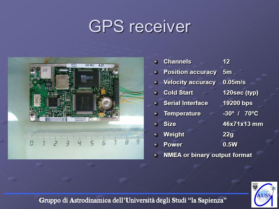 Gruppo di Astrodinamica dellUniversità degli Studi la Sapienza GPS receiver Channels12 Position accuracy 5m Velocity accuracy 0.05m/s Cold Start 120se