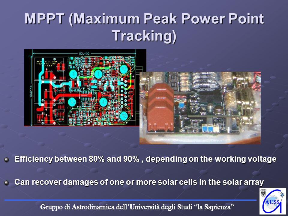 Gruppo di Astrodinamica dellUniversità degli Studi la Sapienza A) MPPT (Maximum Peak Power Point Tracking) Efficiency between 80% and 90%, depending o