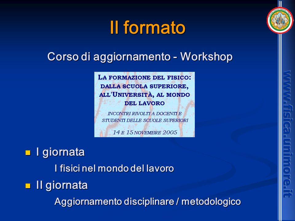 Il formato I giornata I giornata I fisici nel mondo del lavoro II giornata II giornata Aggiornamento disciplinare / metodologico Corso di aggiornament