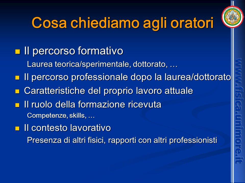 Cosa chiediamo agli oratori Il percorso formativo Il percorso formativo Laurea teorica/sperimentale, dottorato, … Il percorso professionale dopo la la