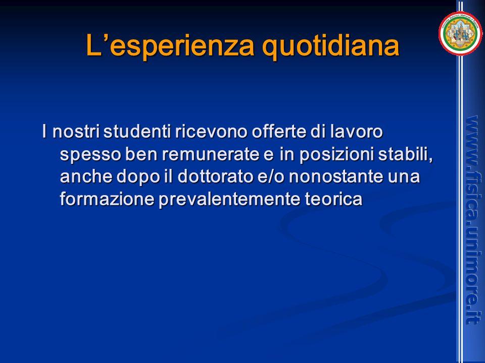 Lesperienza quotidiana I nostri studenti ricevono offerte di lavoro spesso ben remunerate e in posizioni stabili, anche dopo il dottorato e/o nonostan