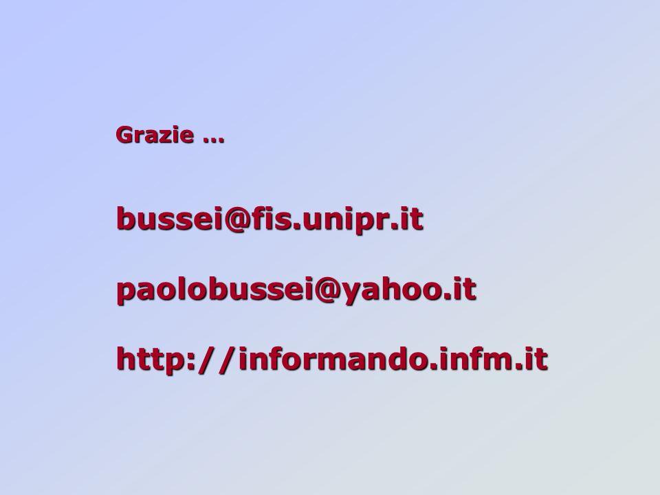 Grazie … bussei@fis.unipr.itpaolobussei@yahoo.ithttp://informando.infm.it