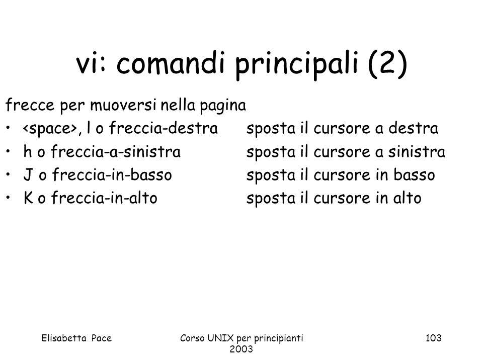 Elisabetta PaceCorso UNIX per principianti 2003 103 vi: comandi principali (2) frecce per muoversi nella pagina, l o freccia-destrasposta il cursore a